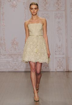 Monique Lhuillier Wedding Dresses Inspired by Ballerinas for Fall 2015 | TheKnot.com | Lace & Lace Appliquéd Short Wedding Dress In A Lovely Dark Ivory Color****