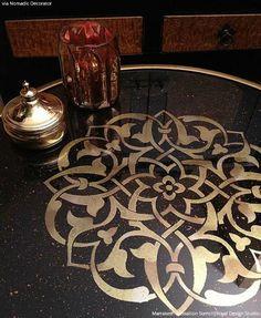 Stenciled Glass and Mirror Project Ideas that Shine - DIY Ideas using Royal Design Studio Stencils