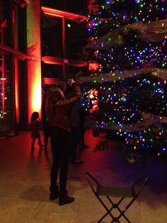 Photographing the Christmas tree in the Grand Hall.  December 2015.
