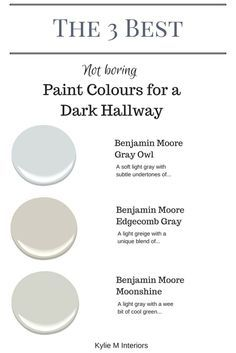 The 3 best not boring paint colours for a dark hallway or stairwell by Kylie M Interiors. E-decor and Color Consulting
