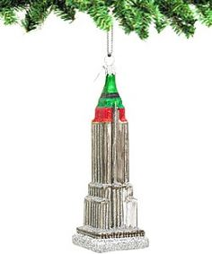 Empire State Building Glass Ornaments with Santa's Sleigh A fun ...