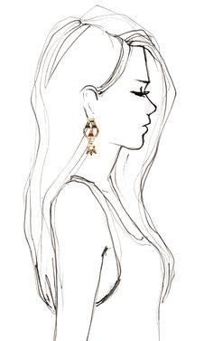 Love love drawings, pencil drawings of girls, easy drawings, drawing people Pencil Drawings Of Girls, Art Drawings Sketches, Love Drawings, Beautiful Drawings, Easy Sketches To Draw, Simple Pencil Drawings, Drawing Faces, Woman Sketch, Girl Sketch