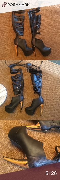 Privileged High Over the Knee Cut Out Boots High over the knee cut out boots with reptile scale and gold accents. Black Boots Privileged Shoes Over the Knee Boots