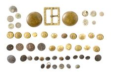 various types of buttons used on Civil War uniforms.