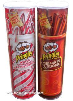 Pringles White Chocolate Peppermint and Pringles Cinnamon & Sugar Funny Food Memes, Food Humor, Pringle Flavors, Pringles Original, Potato Chip Flavors, Packaging Snack, Snack Items, Edible Food, Weird Food