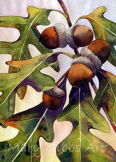 Acorns And Leaves ~ Mary Gibbs Art Oak Leaves, Tree Leaves, Watercolor Leaves, Watercolor Paintings, Watercolors, China Painting, Art Graphique, Autumn Art, Leaf Art