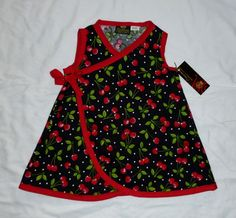 590be351 New Punk Red Cherry Black Rockabilly Retro toddler baby girl dress kimono  pants