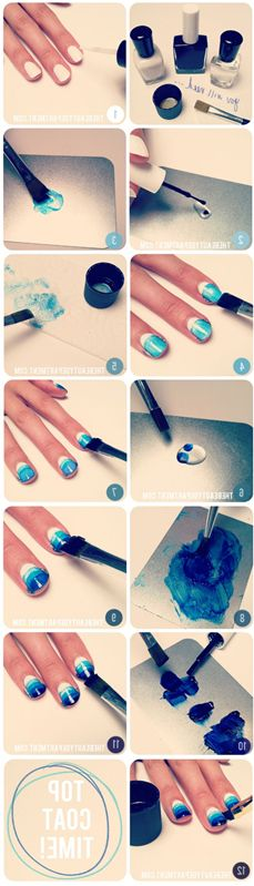 somehow backwards but interesting idea.  ombre nails... a different version of one! I like this :)