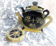 Sottobicchieri - Scatola da tè set da tè con sottobicchieri legno - un prodotto unico di GattyGatty su DaWanda