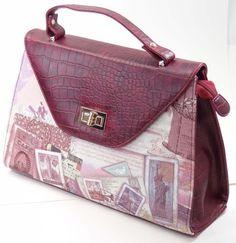 Wine Red Faux Leather New York Vintage Print Satchel Handbag