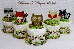 Woodland Forest Animals theme Mini Baby Diaper Cakes would each be created using 5 Pampers Swaddlers sz 1 diapers (or Earths Best (choose at