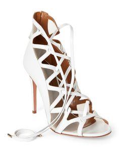532bdbf447e3df Aquazzura White French Lover Leather Lace-Up Sandals Schnürsandalen