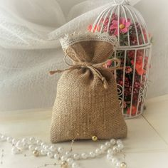 50 Natural Rustic Burlap 5 x 7 Wedding Favor Bag Drawstring Pouch Candy Gift Bag by GoodieGifts on Etsy