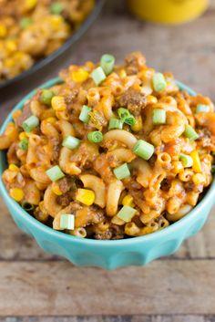 One skillet, easy taco pasta