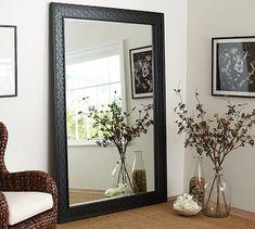 "**$899.99/ Overall: 57.5"" wide x 82"" high x 1.75"" deep  Black Fretwork Floor Mirror #potterybarn"