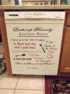 "Personalized ""Kitchen Rules"" Vinyl Decor Wall Sticker U Pick Colors. $24.00, via Etsy."