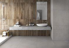 Voor als je je badkamer een natuurlijke look wil geven kiezen wij voor natuurlijke materialen zoals hout. Kijk eens naar deze houten wand. Laat de wand doorlopen in de douche zodat je badkamer nog ruimer lijkt. Home Entrance Decor, House Entrance, Home Decor, Design Exterior, Interior Design, Luster, Terrazzo, Cement, Bathtub