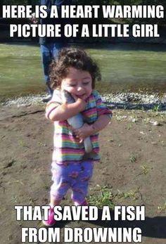 little Girl SAVES FISH. HA HA