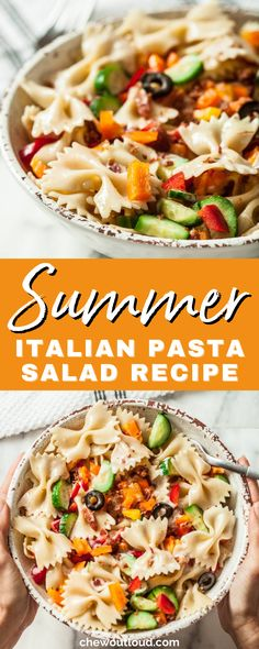 Our Easiest Summer Italian Pasta Salad is yummy and keeps extremely well with zero sog-factor. In fact, Leftovers work nicely for lunch at the office without the fuss of reheating anything. Super easy, fast, and tasty. It's picnic perfect and cookout ready. #summerrecipes #pastasalad #italianpastasalad #picnicrecipes #cookoutrecipes