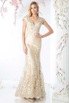 c5a8a6df1c7e4 Mother of the Bride Full Length Elegant Gown with Floral