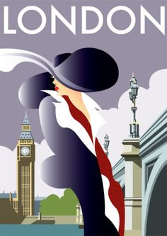 Art Deco Poster - London. @Deidra Brocké Wallace   Thanks to the UK, for keeping us in style and saving my industry!