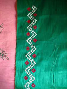 Embroidery On Clothes, Hand Work Embroidery, Creative Embroidery, Simple Embroidery, Border Embroidery Designs, Kurti Embroidery Design, Embroidery Patterns, Simple Saree Designs, Mirror Work Blouse Design