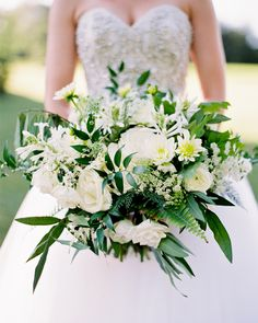 """We wanted to achieve a very natural, organic look,"" says Dani of the day's flowers. ""For them to look freshly cut from the land. Summer Wedding Bouquets, Flower Bouquet Wedding, Floral Wedding, Wedding Colors, Bride Flowers, Southern Weddings, Real Weddings, Martha Stewart Weddings, Wedding Flower Arrangements"