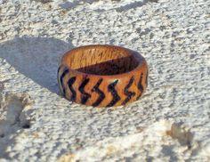 Handmade original woodburned zigzag wood ring by DonBurdaDesign, $29.00  https://www.etsy.com/listing/189156879/handmade-original-woodburned-zigzag-wood?