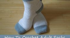 (crochet) How To Crochet Adult Socks - Yarn Scrap Friday. Not recommended for beginners! but always worth a try. Today I show you how to make some adult socks, and how to adjust the pattern for your own size. The beginning is simple but it does get Crochet Socks Tutorial, Crochet Socks Pattern, Crochet Shoes, Crochet Slippers, Easy Crochet Patterns, Crochet Clothes, Crochet Stitches, Knitting Patterns, Crochet Baby