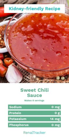Kidney-friendly Sweet Chili Sauce Recipe Can't decide if you like spicy or sweet? You get the best of both worlds with this Sweet-and-Spicy Sauce. Start delaying dialysis by knowing what kidney foods to eat and controlling your nutrient intake. Check o Davita Recipes, Kidney Recipes, Kidney Foods, Kidney Health, Diet Recipes, Sauce Recipes, Low Potassium Recipes, Low Sodium Recipes, Low Sodium Meals