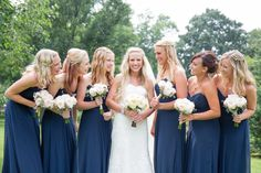 Long Navy Bridesmaids Dresses | photography by http://twomaries.com/