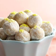 No-Bake Lemon Drops Toasted almond and zesty lemon flavors make these no-bake cookies one of our holiday favorites. Lightly roll them in powdered sugar and top with lemon zest for an extra-tasty presentation.