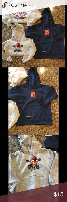 Boys NIKE LOT! Boys NIKE LOT!  All excellent condition. Blue Nike Therma-Fit hoodie is size 7. Grey Otto Nike hoodie is size 4. Lacrosse sweatshirt is size 6-7 (not Nike brand). Great for the 'Cuse kids in your family! Nike Shirts & Tops Sweatshirts & Hoodies