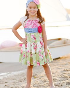 Giggle Moon ``Green Pastures`` Beautiful Twirl Dress w/Puff Shoulders *PREORDER*Sizes 12M-8