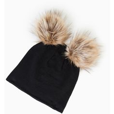 Oversized Two Pom Beanie (£7.37) ❤ liked on Polyvore featuring accessories, hats, knit beanie, pom beanie, knit pom pom hat, oversized hat and pompom hat