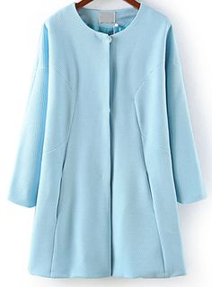 Light Blue Long Sleeve Covered Button Coat 0.00