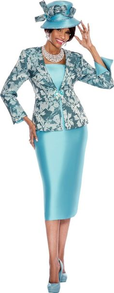 7487 TERRAMINA 2 PC SUIT & DICKIE POLYESTER  #SkirtSuit