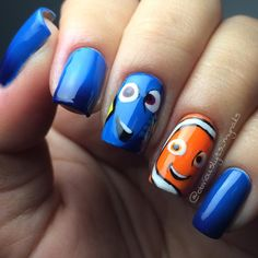 """128 Likes, 4 Comments - Jeshika (@obviouslyits_mynails) on Instagram: """"Finding Nemo nails!  By request from my pregnant best friend  Here we have Dory and Nemo…"""""""