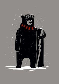 Bear on snowboard Art Print