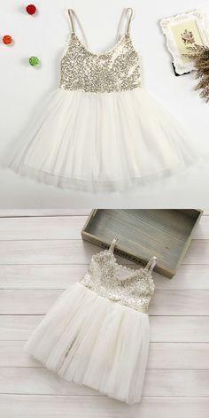ivory short flower girl dress, adorable flower girl dress