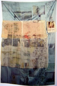 Robert Rauschenberg, Blue Urchin from Hoarfrost series 1974 - In them he used a variety of transparent, translucent and opaque fabrics ranging from humble cotton cheesecloth to exotic satin and silk on which he printed text and images from newspapers and magazines.