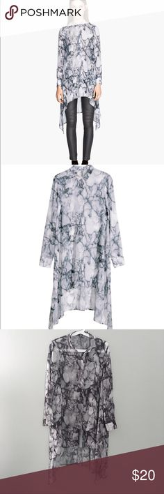 H&M marble long shirt H&M long sheer shirt with marble print. Seldom worn. Great condition! H&M Tops Button Down Shirts