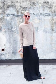 black dress with tan sweater - meg biram