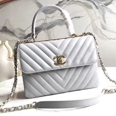 88fcb0663241 Chanel Chevron Small Trendy CC Flap Bag With Top Handle A92236 Light Grey  2018(Gold