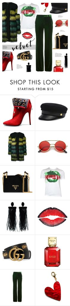 """""""Velvet"""" by tinkabella222 ❤ liked on Polyvore featuring Henri Bendel, KI6? Who Are You?, ZeroUV, Prada, Gucci, Oscar de la Renta, Givenchy, Michael Kors, Emilio Pucci and Edie Parker"""