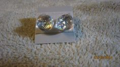 SEXY HOT WHITE CLEAR DIAMOND ICE ICY DICHROIC GLASS STUD EARRINGS   Imaginative_Creations - Jewelry on ArtFire