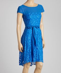 Another great find on #zulily! Danny & Nicole Blue Dot Lace Cap-Sleeve Dress by Danny & Nicole #zulilyfinds