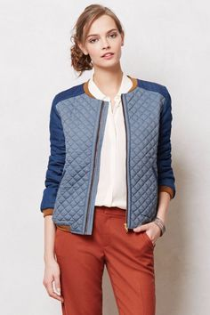 NWT ANTHROPOLOGIE BLUE QUILTED CHAMBRAY JACKET by VALENTINE GAUTHIER PARIS M #VALENTINEGAUTHIER #Bomber