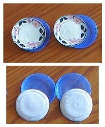 make miniature plates for dollhouse--use cap lids stickers (or printables+circle punch) and glue finish  CRAFT