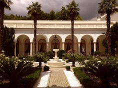 Courtyard garden at LIvadia Palace, the Crimean summer home of Tsar Nicholas II and Empress Alexandra.